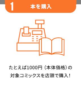 1.本を購入 - たとえば1000円(本体価格)の対象コミックスを店頭で購入!